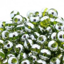 Glass Beads Stripy Round 14mm - Silver/Green - 100g (28 Beads)