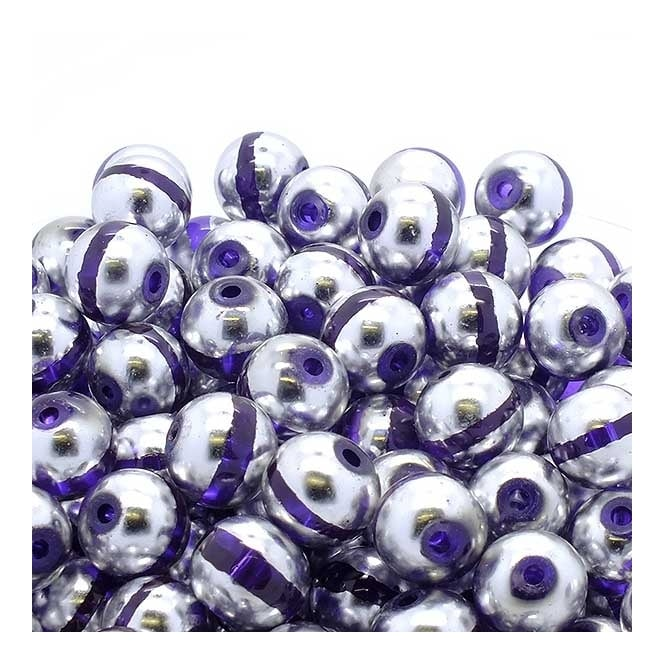 Glass Beads Stripy Round 14mm - Silver/Purple - 100g (28 Beads)