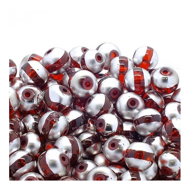 Glass Beads Stripy Round 14mm - Silver/Red - 100g (28 Beads)