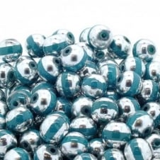 Glass Beads Stripy Round 14mm - Silver/Turquoise - 100g (28 Beads)