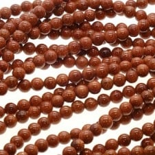 "Goldstone Round Beads 4mm - 15.5"" Strand"
