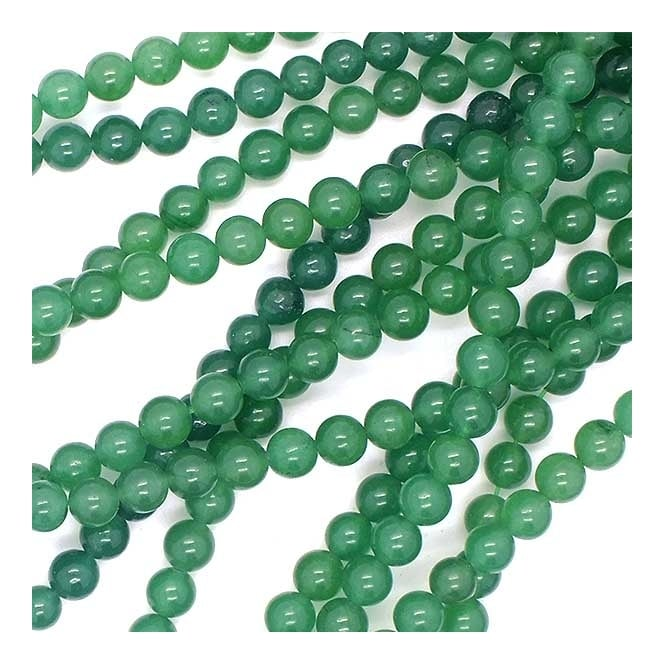 "Green Aventurine Round Beads 6mm - 15.5"" Strand"