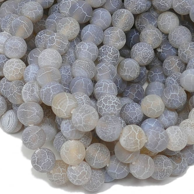 "Grey Frosted Cracked Agate Round Gemstone Beads 8mm - 15"" String"