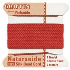 Griffin Silk Bead Cord - No 4 (0.6mm) - Red