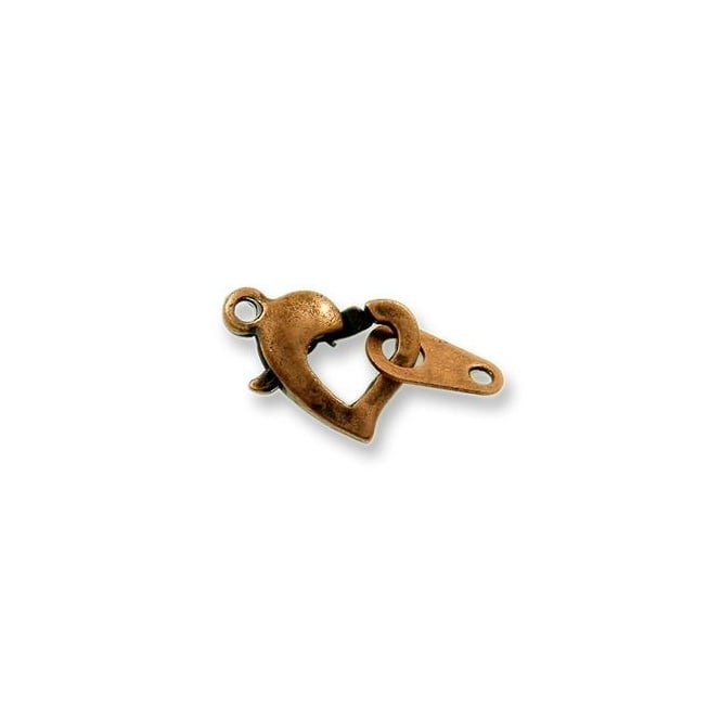 Heart Trigger Clasp - Antique Copper Plated - 2pk