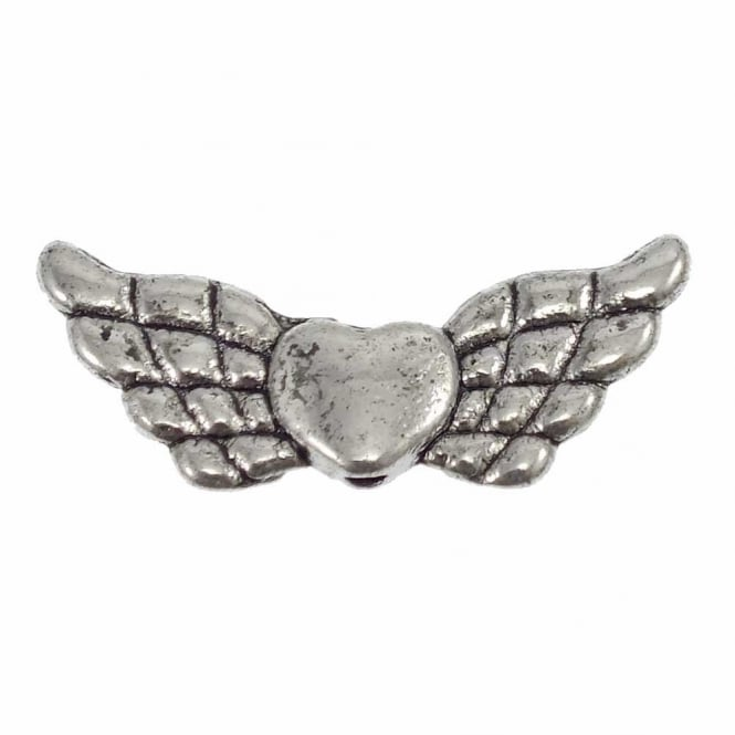 Heart Wing Bead Spacer 22x9mm - Antique Silver Plated - 10pk