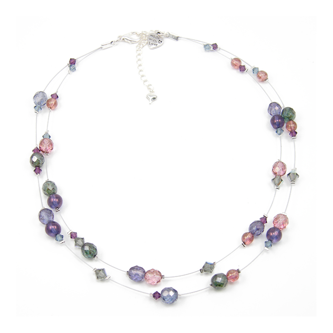 Indian Sapphire Picasso Amp Swarovski Floating Necklace