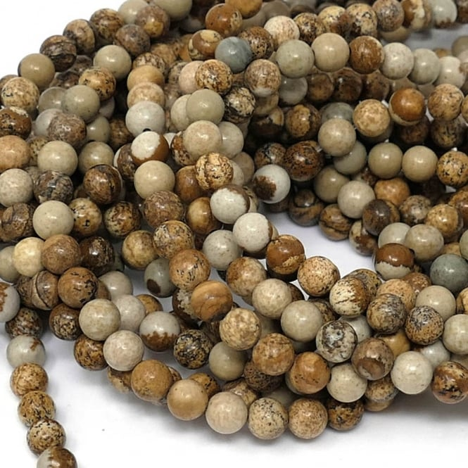 "Jasper Picture Round Gemstone Beads 6mm - 15"" String"