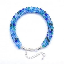 Kumihimo Bracelet Kit - Czech Glass Bicones - Blue