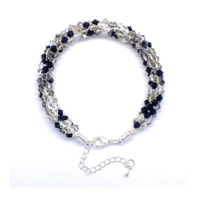 Kumihimo Bracelet Kit - Czech Glass Bicones - Classic Diamond
