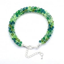 Kumihimo Bracelet Kit - Czech Glass Bicones - Evergreen