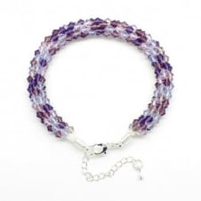 Kumihimo Bracelet Kit - Czech Glass Bicones - Purple