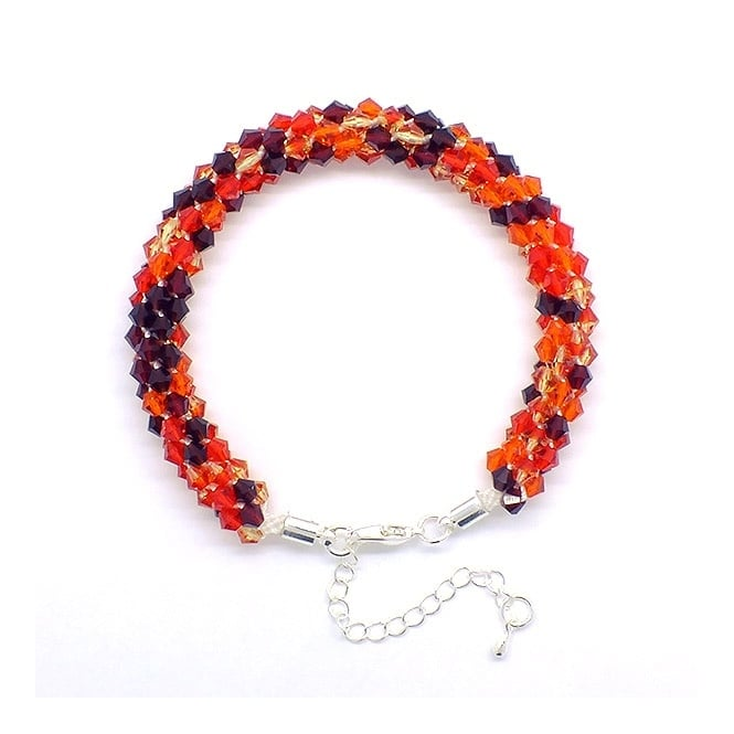 Kumihimo Bracelet Kit - Czech Glass Bicones - Red