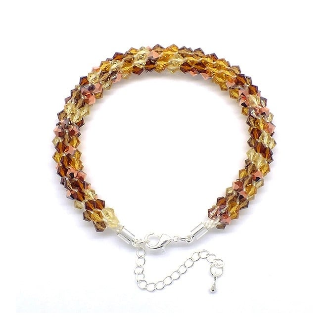 Kumihimo Bracelet Kit - Czech Glass Bicones - Topaz Blend