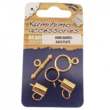 Kumihimo Findings Set 6mm Barrel - Gold Plated