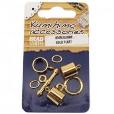 Kumihimo Findings Set 8mm Barrel - Gold Plated