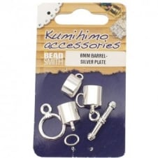 Kumihimo Findings Set 8mm Barrel - Silver Plated