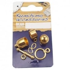 Kumihimo Findings Set 8mm Bullet - Gold Plated
