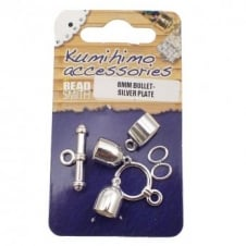 Kumihimo Findings Set 8mm Bullet - Silver Plated