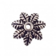 Large Flower Bead Cap Findings 14mm - Antique Silver Plated - 4pk