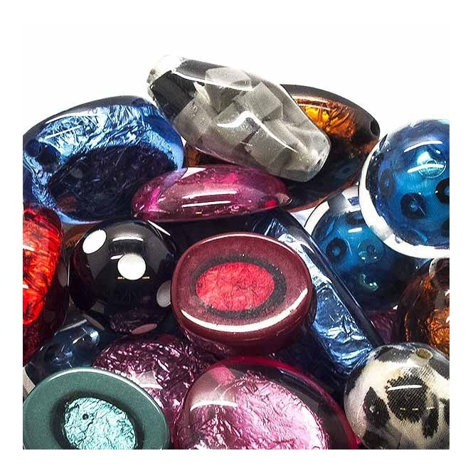 Large Resin Beads Mix - Various Shapes And Sizes - 10 beads