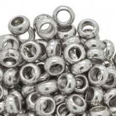 Large Rondelle Spacer Beads 10x5mm - Antique Silver Plated - 10pk