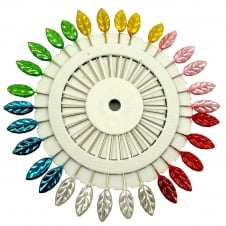 Leaf Pearl Head Pin Wheel (45mm in length) - 30 pins
