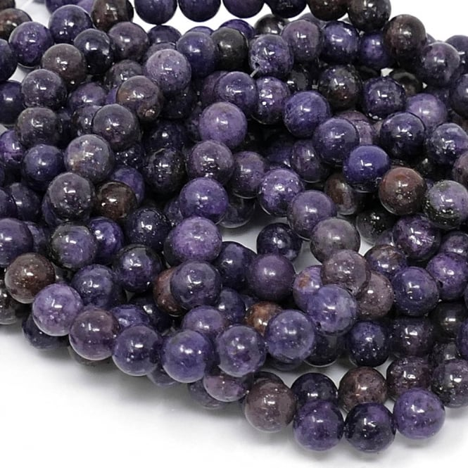 "Lepidolite Round Gemstone Beads 8mm - 15"" String"
