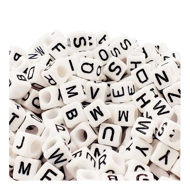 Letter/Alphabet 6mm Cube Plastic Beads A to Z - White - 20g (125pcs)