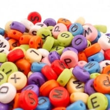Letter/Alphabet 7x4mm Plastic Beads A to Z - Opaque Mix - 20g (140pcs)