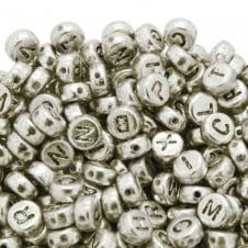 Letter/Alphabet 7x4mm Plastic Beads A to Z - Silver - 20g (140pcs)