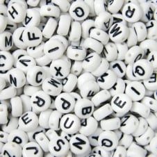 Letter/Alphabet 7x4mm Plastic Beads A to Z - White - 20g (140pcs)
