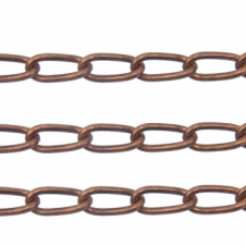 Long Curb Chain 12x5mm - Antique Copper Plated - 1 metre