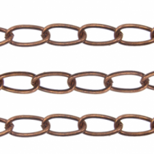 Long Oval Curb Chain 15x7.5mm - Antique Copper Plated - 1 metre