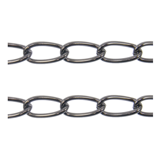Long Oval Curb Chain 15x7.5mm - Black Plated - 1 metre