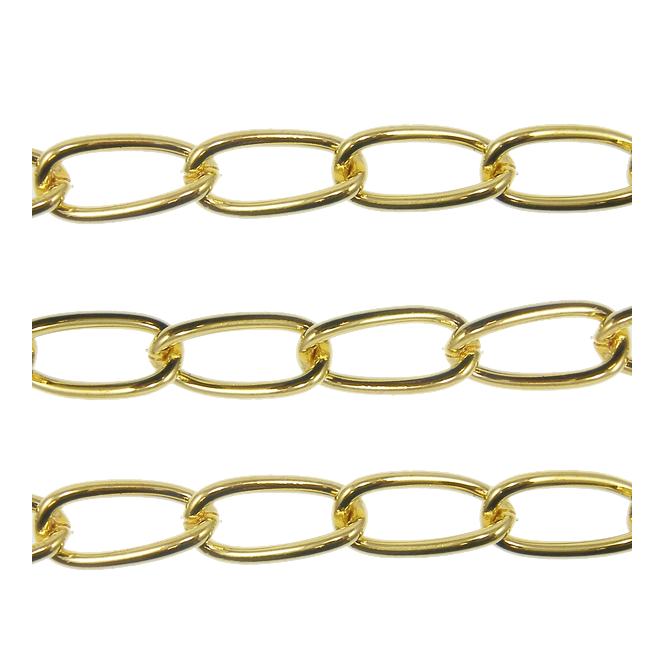 Long Oval Curb Chain 15x7.5mm - Gold Plated - 1 metre
