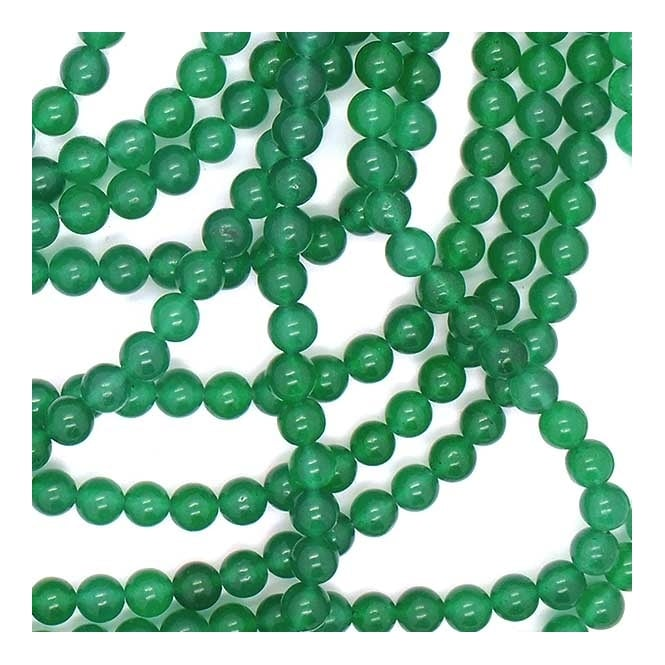 "Malachite Jade Round Beads 6mm - 15.5"" Strand"
