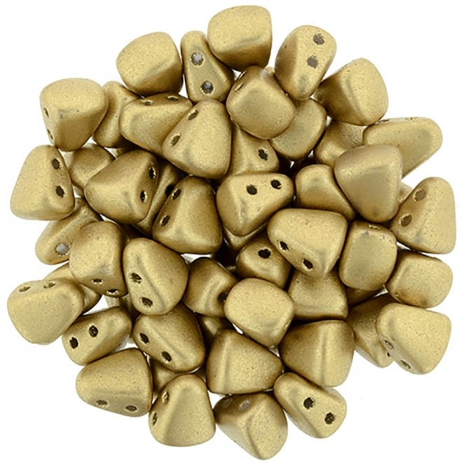 Matubo Nib-Bit Glass Beads 6x5mm - Matte Metallic Gold - 5g