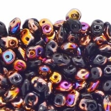 Matubo SuperDuo Czech Beads 2.5x5mm - Jet Sliperit - 10g