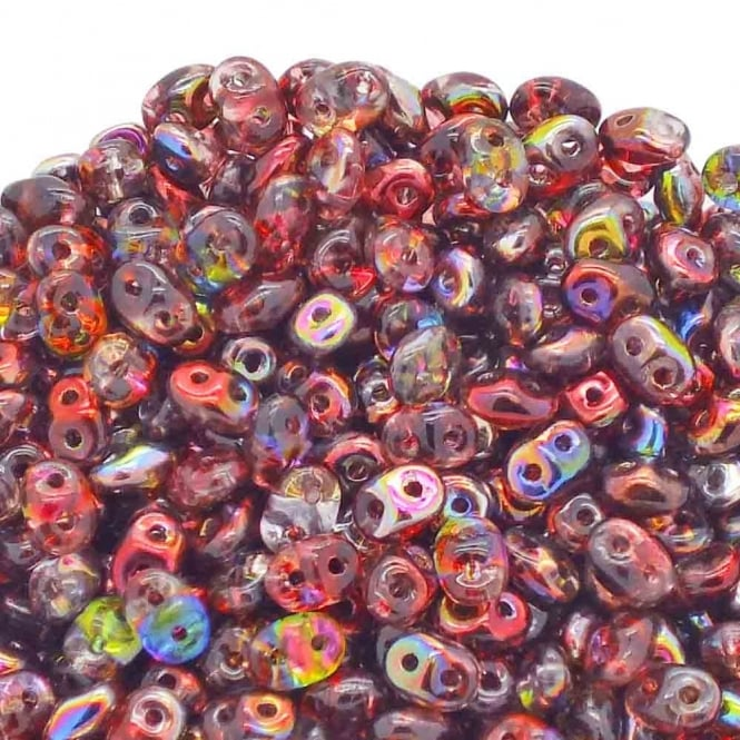 Matubo SuperDuo Czech Beads 2.5x5mm - Magic Line Red/Brown - 10g