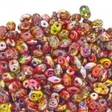 Matubo SuperDuo Czech Beads 2.5x5mm - Magic Line Red/Yellow - 10g