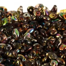 Matubo SuperDuo Czech Beads 2.5x5mm - Magic Line Yellow/Brown - 10g