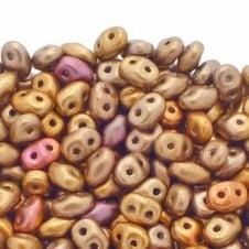 Matubo SuperDuo Czech Beads 2.5x5mm - Matte Metallic Gold Copper Iris - 10g