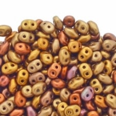 Matubo SuperDuo Czech Beads 2.5x5mm - Matte Metallic Gold Iris - 10g