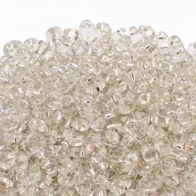 Matubo SuperDuo Czech Beads 2.5x5mm - Silver-Lined Crystal - 10g