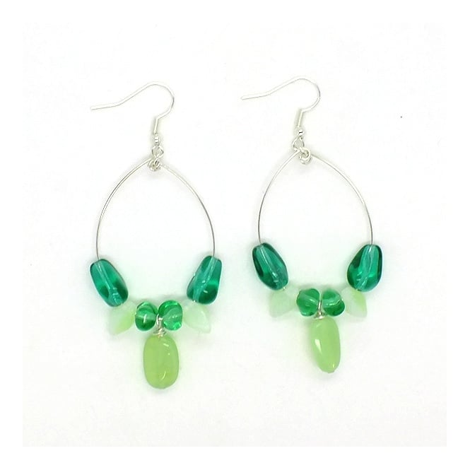 Memory Wire Drop Earrings With Czech Beads - Emerald