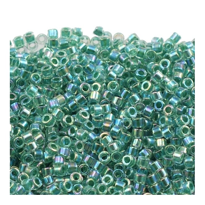 11/0 Delica Seed Bead - Lined Lime AB (DB060) - 5g