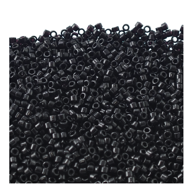 Miyuki 11/0 Delica Seed Beads - Opaque Black (DB010) - 5g