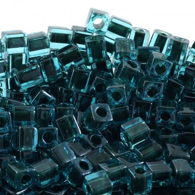 4mm Cube Seed Beads - Colour Lined Blue/Black - 10g