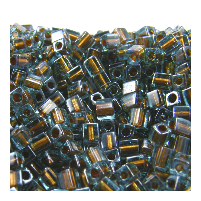 Miyuki 4mm Cube Seed Beads - Colour Lined Blue/Brown - 10g